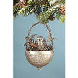 Bethany Lowe Designs Owl in Mercury Glass Nest Ornament