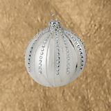 Dagmara White with Silver Gems Ball Ornament