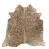 Saddlemans Beige and Gold Metallic Cowhide Rug