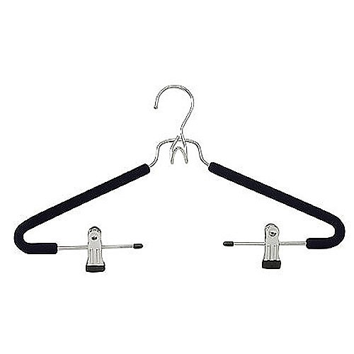 Black Suit Hanger with Clips, Set of 3