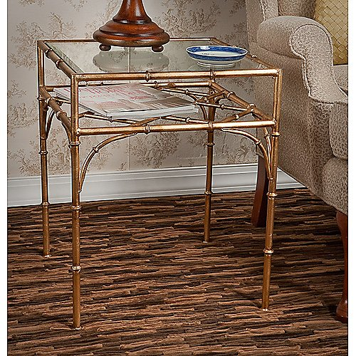 Dessau Home Iron Bamboo Square Table with Beveled Glass