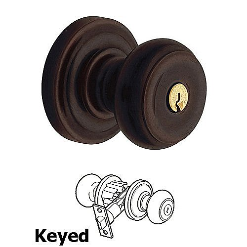 Baldwin 5214 Colonial Keyed Entry Knob w/ Classic Rose