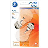 GE 40W A15/E26 Incandescent Fan Bulb, 2 Pack