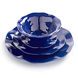 Q SQUARED Ruffle Sapphire Melamine Dinnerware Collection