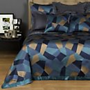 Frette Lux Abstract Blue & Gold Coverlet