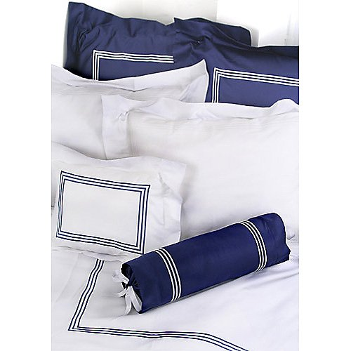 Gracious Home 3-Line Navy Flat Sheet