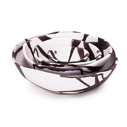 Alex Marshall Charcoal Stripe Round Bowl