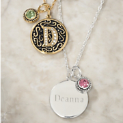 Personalized Initial name birthstone Pendant