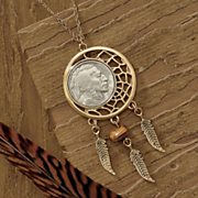 Genuine Buffalo Nickel Dream Catcher Pendant