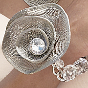 Bracelet Floral Mesh And Crystal Floral