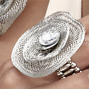 Ring Stretch Floral Mesh And Crystal