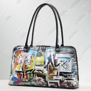 Handbag Hand Painted Graffiti Leather