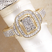 Ring 10K Gold Diamond Vintage Rectangle