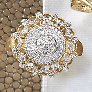 Ring, 10K Gold Diamond Vintage Round Pavé