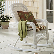 Peyton Weather Resistant Wicker Rocker and Pattern Perfect Chair Rocker Cushion