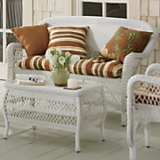Peyton Weather Resistant Wicker Settee and Pattern Perfect Settee Cushion