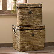 Trunks, Rattan, Set of 2