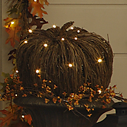 Lighted Grapevine Pumpkins