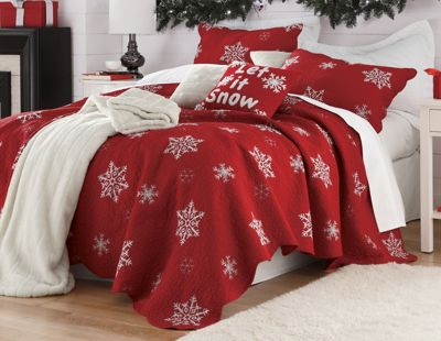 Snowflake Embroidered Cotton Quilt