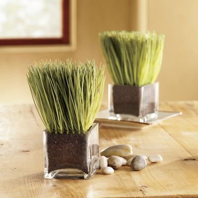 Faux Lemongrass In Glass