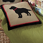 Hooked Black Lab Pillow