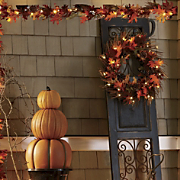 Lit Fall Wreath And Garland
