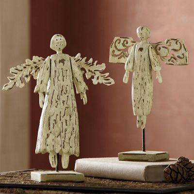 Set Of 2 Folk Art Angels