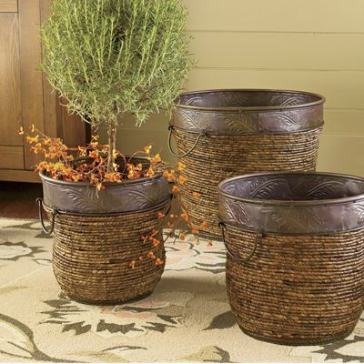 Set Of 3 Wicker Planters