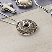 Black Onyx marcasite Cross Pendant