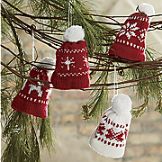 Set Of 4 Knit Hat Ornaments