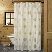 Embroidered Metallic Snowflake Shower Curtain