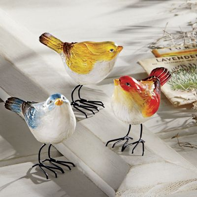 set of 3 bird figurines