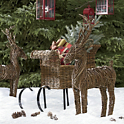 Natural Vine Deer And Sleigh