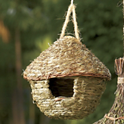 natural round hut birdhouse