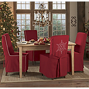 Snowflake And Holiday Red Chair Slipcovers