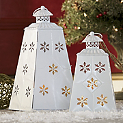 Set Of 2 Snowflake Lanterns