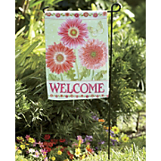 gerbera welcome flag stake