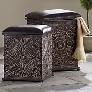set of 2 ornate ottomans