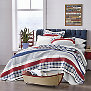 nautical stripe oversized reversible quilt and sham