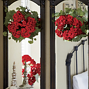 set of 2 geranium wreaths