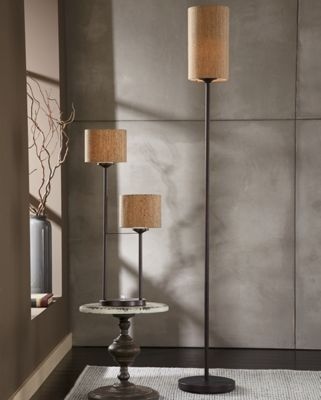 cork table and floor lamps