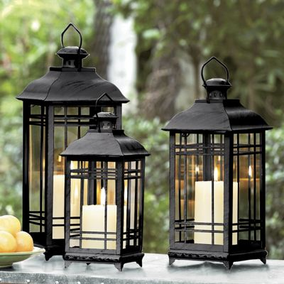 Set Of 3 Candlelit Coach Lanterns