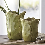 set of 2 cabbage leaf vases