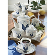 Coffee Set Blue Toile Rooster 17 Piece