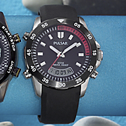 black round rubber strap analog digital watch by pulsar