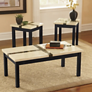 Set Of 3 Faux Marble Top Tables