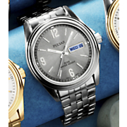 Mens Silvertone Round Bracelet Watch By Pulsar