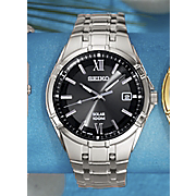 Mens Round Silvertone Bracelet Watch by Seiko
