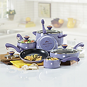 paula deen 15 pc aluminum cookware set with speckled porcelain exterior with rebate