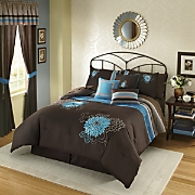 Blue Dahlia 7 piece Embroidered Bed Set and Window Treatments